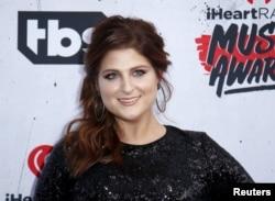 Singer Meghan Trainor poses at the 2016 iHeartRadio Music Awards in Inglewood, California, April 3, 2016.