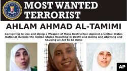 This image provided by the FBI is the most wanted poster for Ahlam Aref Ahmad Al-Tamimi, a Jordanian woman charged in connection with a 2001 bombing of a Jerusalem pizza restaurant that killed 15 people and injured dozens of others.