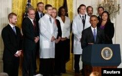美国总统奥巴马在白宫谈论美国政府对埃博拉的对策(2014年10月29日)