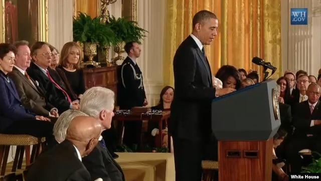 President Obama speaks at the Medal of Freedom ceremony at the White House, Nov. 20, 2013.