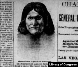 Illustration of Geronimo in the Las Vegas Daily Gazette, February 14, 1886, seven months before his final surrender.
