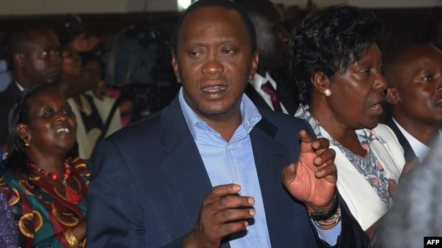 Kenya's President-elect Uhuru Kenyatta attends a church service Mar. 31, 2013 at St Austin catholic church in Lavingtone, Nairobi.