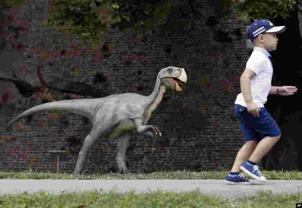 Seorang anak Serbia lari pada pameran Dinosaurus di Beograd.