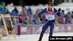 挪威宿將奧萊埃納爾.比約達倫在索契冬奧會的滑雪賽場上。(2014年2月8日)