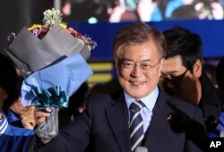 FILE - South Korea's presidential candidate Moon Jae-in in Seoul, South Korea.