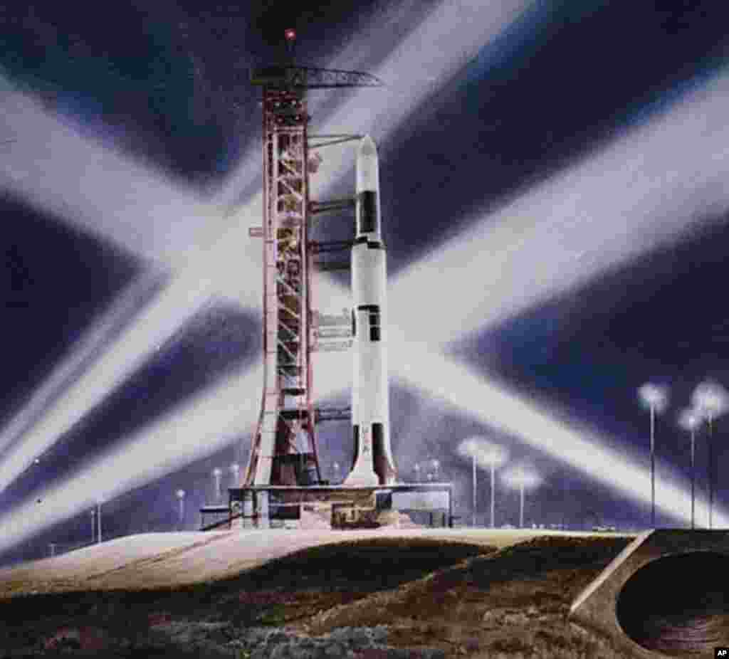 Peter Hurd recorded the launch of Skylab, a rocket modified to allow astronauts to live and work in orbit. (Smithsonian National Air and Space Museum)
