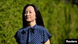 華為財務總監孟晚舟離開家前往溫哥華一家法庭聽訊。(2021年8月11日)