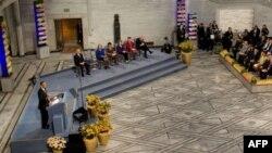 Президент США Барак Обама під час церемонії вручення йому Нобелівської премії миру.