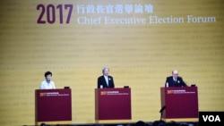 香港特首选举候选人林郑月娥(左起),曾俊华及胡国兴在3月19日最后一场辩论中(VOA汤惠芸摄)
