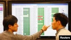 Para peneliti Hauri, sebuah perusahaan piranti lunak untuk keamanan internet tengah meneliti virus komputer di laboratorium mereka di Seoul (22/3).