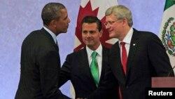 Tổng thống Hoa Kỳ Barack Obama, Tổng thống Mexico Enrique Pena Nieto, và Thủ tướng Canada Stephen Harper tại Hội nghị thượng đỉnh các nhà lãnh đạo Bắc Mỹ ở Tolucan, gần Mexico City, ngày 19/2/2014.