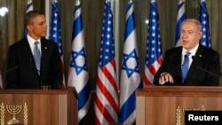 바락 오바마 미국 대통령(왼쪽)과 베냐민 네타냐후 이스라엘 총리가 지난 3월 예루살렘에서 정상회담 후 공동 기자회견을 가졌다.