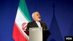 محمدجواد ظریف در نشست خبری پس ازقرائت بیانیه پایانی مذاکرات لوزان