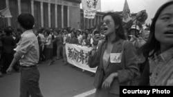 1989年4月27日,为抗议政府的《四·二六》社论,数百万学生和各界人士在北京发起4·27大游行(刘建提供)