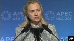 U.S. Secretary of State Hillary Clinton speaks at APEC in Hawaii.