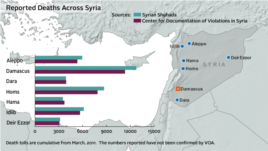 Estimated Syrian-conflict deaths as of Dec. 20, 2012.