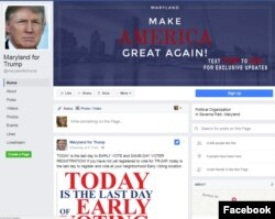 Screenshot of Maryland for Trump Facebook page.