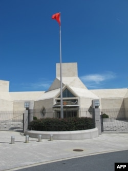A file image shows an entrance to China's embassy in Washington, D.C.