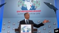 美國總統奧巴馬星期六在肯尼亞舉行的全球企業家峰會上發表演講
