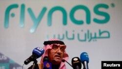 Le PDG de flynas lors du contrat avec Airbus, en Arabie Saoudite, le 16 janvier 2017.
