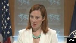 美国国务院发言人莎琪(美国之音视频截图)