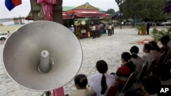 Cambodians protested at Freedom Park, demanding compensation for removing their houses.