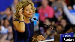 Democratic National Committee (DNC) Chairwoman Debbie Wasserman Schultz speaks at a rally, before the arrival of Democratic U.S. presidential candidate Hillary Clinton and her vice presidential running mate U.S. Senator Tim Kaine, in Miami, Florida, July 25, 2016.