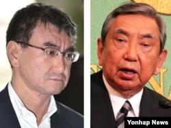 고노 다로(왼쪽) 신임 일본 외무상과 아버지인 고노 요헤이 전 관방장관. (자료사진)