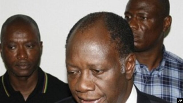 Ivory Coast opposition leader Alassane Ouattara addresses journalists after he was named by the country's electoral commission winner of the presidential election, 02 Dec 2010