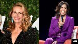 Nữ diễn viên điện ảnh Julia Roberts (trái) sẽ đến Việt Nam cùng cựu Đệ nhất Phu nhân Michelle Obama trong chuyến thăm ngày 9/12. (VOA collage of AP photos)