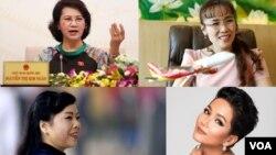 Chủ tịch Quốc hội Nguyễn Thị Kim Ngân (hàng trên, bên trái), Tổng giám đốc VietJet Aire Nguyễn Thị Phương Thảo (hàng trên, bên phải), Bộ trưởng Y tế Nguyễn Thị Kim Tiến (hàng dưới, bên trái) và Hoa hậu Hoàn vũ Việt Nam H'Hen Niê.