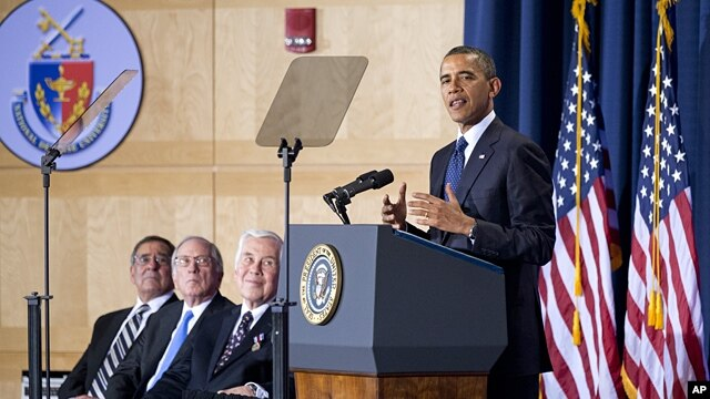 President Barack Obama delivers his speech to the Nunn-Lugar Cooperative Threat Reduction (CTR) symposium at the National Defense University in Washington, Dec. 3, 2012.