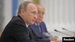 Presiden Rusia Vladimir Putin di Kremlin, Moskow (28/5).