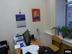 喀山大学孔子学院俄罗斯教师的办公室。(美国之音白桦拍摄)