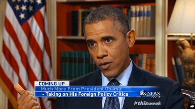 "In this image from video pre-taped at the White House in Washington Friday, September 13, 2013, for Sunday morning's ABC program ""This Week"" President Barack Obama answers questions about pressing national and international issues."
