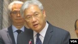 台灣陸委會主委夏立言在立法院就肯亞案接受質詢。(美國之音張永泰攝)