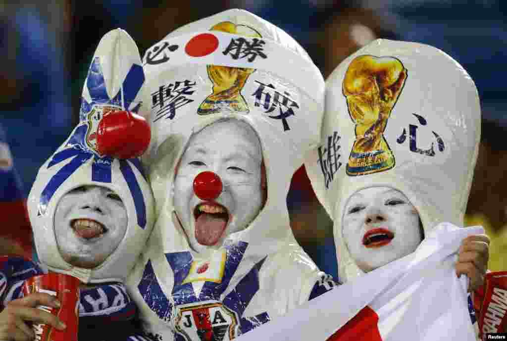 19일 브라질 나탈에서 열린 월드컵 C조 조별리그 일본과 그리스의 경기에서 일본을 응원하는 축구팬들.