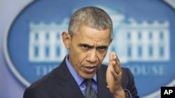 Predsednik Barak Obama na konferenciji za novinare u Beloj kući 18. decembra 2015.