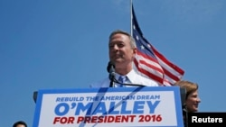 Former Maryland Governor Martin O'Malley announces his intention to seek the Democratic presidential nomination during a speech in Federal Hill Park in Baltimore, Maryland, May 30, 2015.