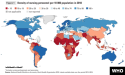 World Health Organization chart showing nursing shortage in low- and lower-middle income countries