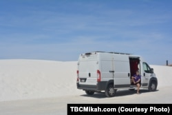 National parks traveler Mikah Meyer says the roadways at White Sands National Monument reminded him of the snowy winters in his native Nebraska.