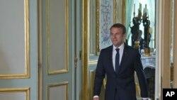 Presiden Perancis Emmanuel Macron di Istana Elysee, Paris, Perancis, 23 Mei 2017.