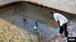 Seorang peneliti mengambil sampel larva nyamuk Malaria di sebuah kolam yang tak terurus di Malindi, Kenya (foto: dok.).