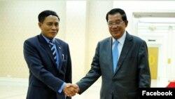 ကေမၻာဒီးယား ၀န္ႀကီးခ်ဳပ္ ဟြန္ဆန္ႏွင့္ ျမန္မာ သံအမတ္ ဦးျမင့္စိုးတို႕ ဂ်ဴလိုင္လ ၄ ရက္ေန႕က ေတြ႕ဆံုေနစဥ္။ ဓါတ္ပံု (Facebook/Samdech Hun Sen, Cambodian Prime Minister)