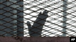 FILE - A defendant is seen caged in a courtroom in Torah prison, southern Cairo, Egypt.