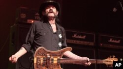 "FILE - Lemmy Kilmister of the band Motörhead performs in concert during their ""Bad Magic Tour 2015"" at the Tower Theater, Sept. 22, 2015, in Upper Darby, Pa."