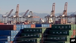 In this Feb. 12, 2015 file photo, the Port of Los Angeles, with some cargo loading cranes in the upright and idle position, are seen in this view from the San Pedro area of Los Angeles. (AP Photo/Nick Ut, File)
