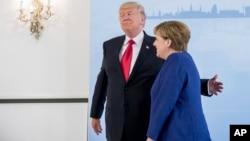 Президент США Дональд Трамп и канцлер Германии Ангела Меркель. Гамбург, Германия. 6 июля 2017 г.