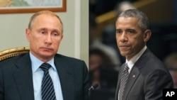 ປະທານາທິບໍດີ ຣັດເຊຍ ທ່ານ Vladimir Putin, ຊ້າຍ, ແລະ ປະທານາທິບໍດີ ສະຫະລັດ ທ່ານ ບາຣັກ ໂອບາມາ ຈະພົບປະກັນໃນນະຄອນ ນິວຢອກ ໃນການປະຊຸມນັດພິເສດ ນອກກອງປະຊຸມສະມັດຊາໃຫຍ່ ສະຫະປະຊາຊາດ. 28 ກັນຍາ, 2015.
