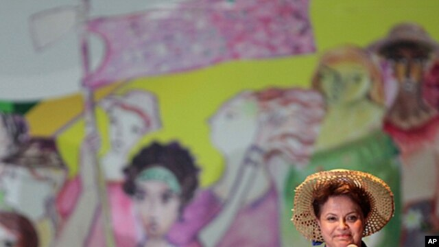 Brazil's President Dilma Rousseff delivers a speech as he attends the 4th Edition of the March of Daisies, an annual demonstration in support of women's rights in Brasilia, Brazil, Aug. 17, 2011